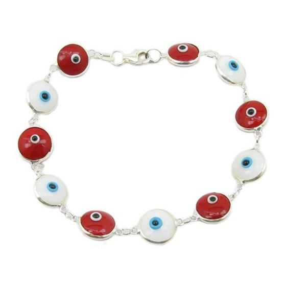 Womens Sterling silver White and red evi 84609 1