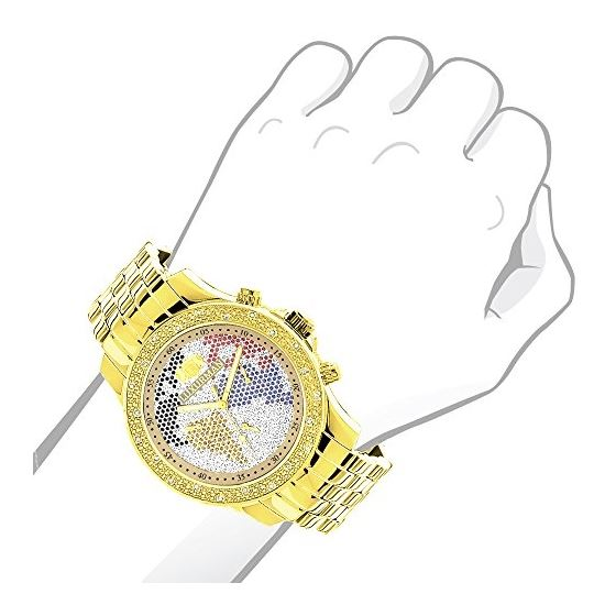 World Map Mens Diamond Watch 0.25Ct Yellow Gold-3