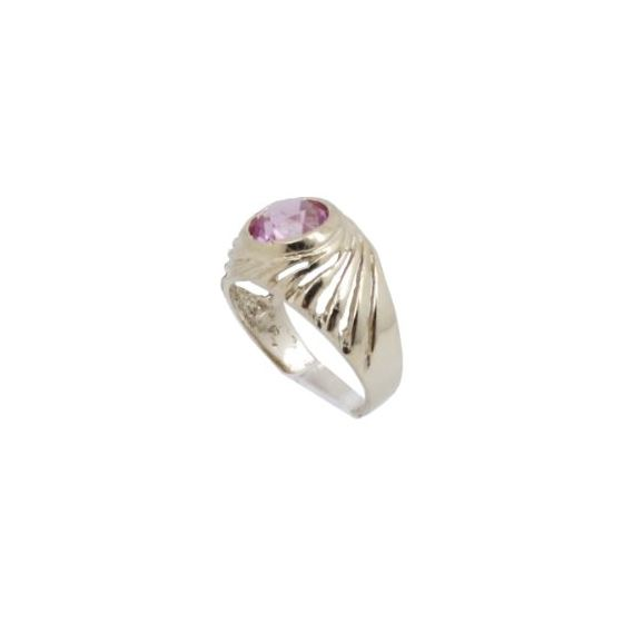 10k Yellow Gold Syntetic red gemstone ring ajjr83 Size: 2 1
