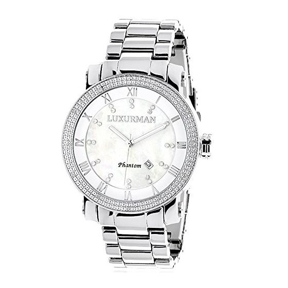 Luxurman Diamond Watches White Mother of 90167 1