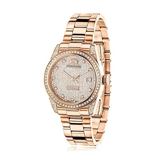 Rose Gold Plated Real Diamond Watch For Women 1.5C
