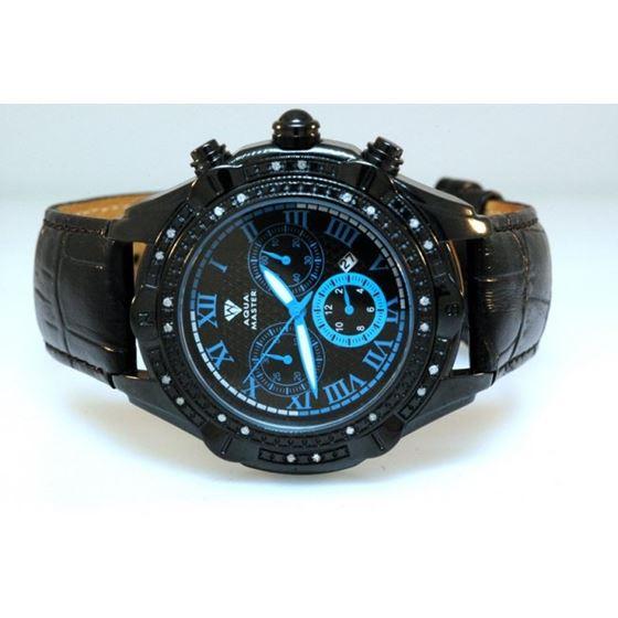 Aqua Master Mens Diamond Black PVD case watch 0.15ctw Blue Dial 1