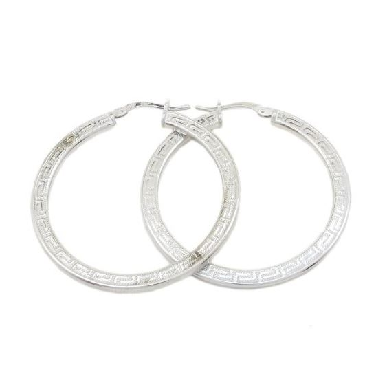 Round greek key hoop earring SB87 33mm tall and 32mm wide 1