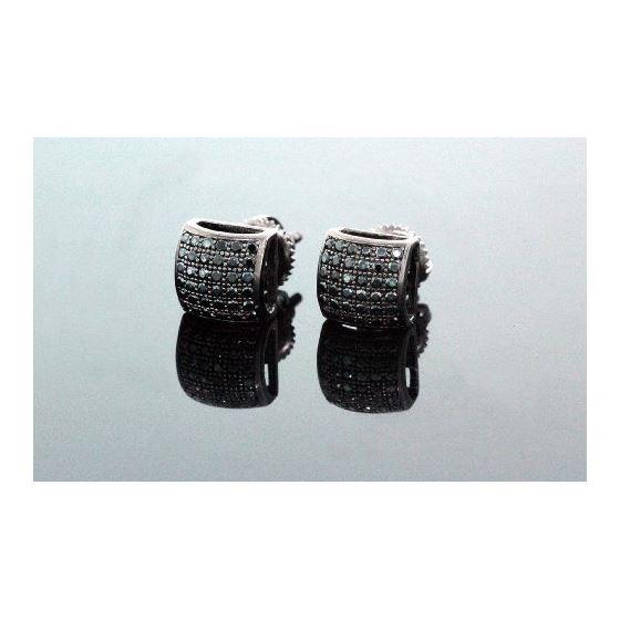 .925 Sterling Silver Black Square Black Onyx Crystal Micro Pave Unisex Mens Stud Earrings 7mm 1