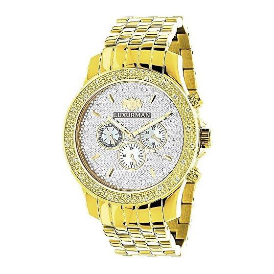 Yellow Gold Tone Watches: Luxurman Mens Genuine Diamond Watch 0.25ct Chronograph 1