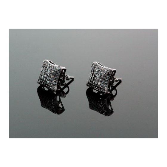 Sterling Silver Unisex Fashion Hand Set Stud Earrings ME0218 1