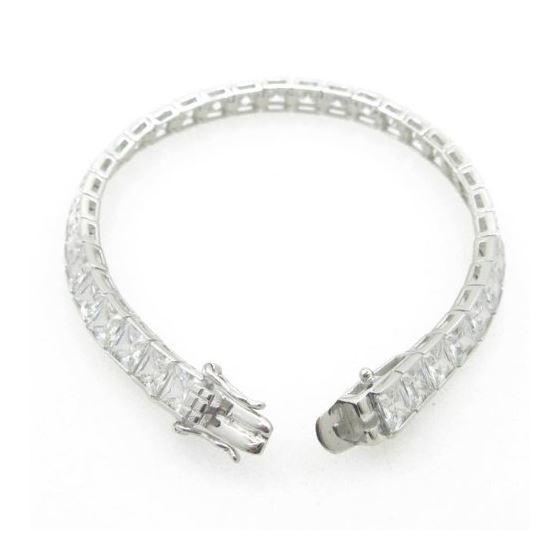 Ladies .925 Italian Sterling Silver princess cut cz tennis bracelet Length - 7 inches Width - 6mm 3