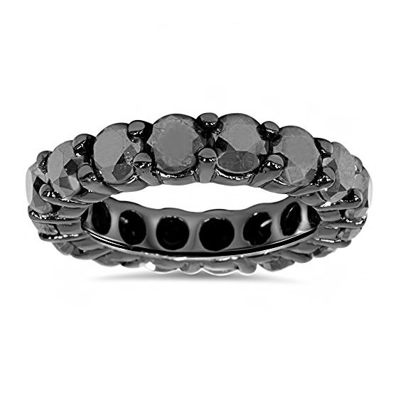 14K Black Gold Band Black Diamond Eternity Ring (5