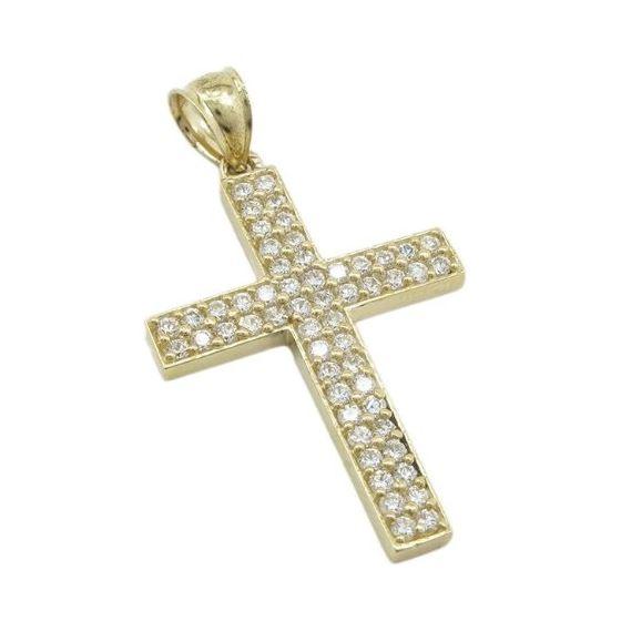 Mens 10k Yellow gold 2 row cz stone cross pendant GCHA10 1