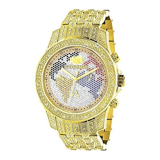 World Map Mens Diamond Watch 1.25Ct Yellow Gold Pl
