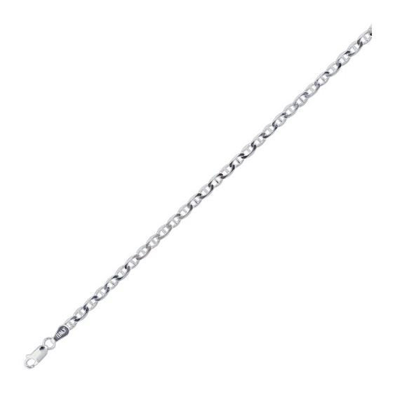 Sterling silver 2.8 mm Wide Polished Diamond Cut Flat Mariner Chain 18 Inch Long