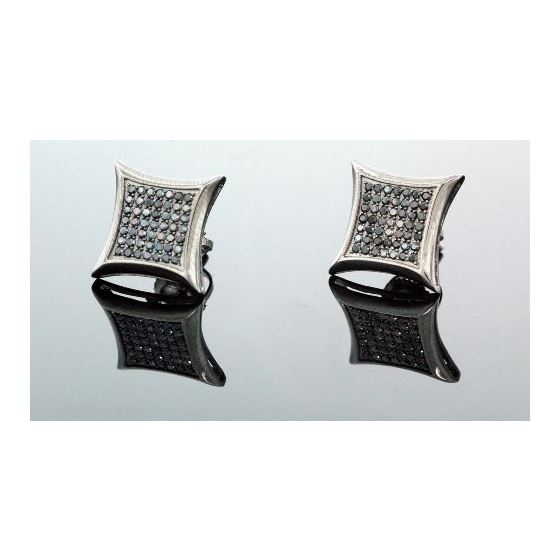 .925 Sterling Silver Black Kite Black Onyx Crystal Micro Pave Unisex Mens Stud Earrings 12mm 1