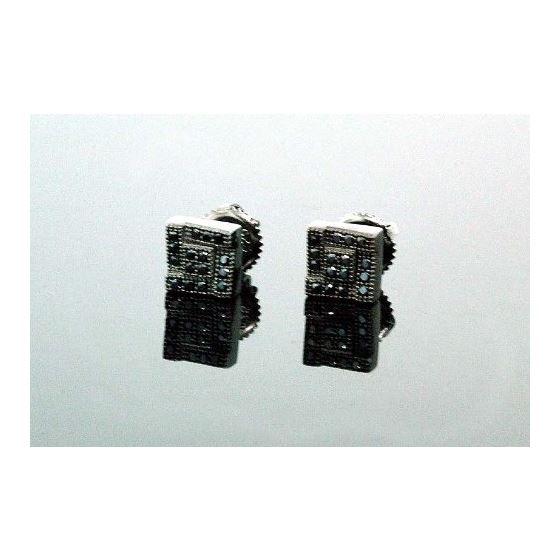 .925 Sterling Silver Black Square Black Onyx Crystal Micro Pave Unisex Mens Stud Earrings 8mm 1
