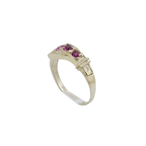 10k Yellow Gold Syntetic red gemstone ring ajjr35 Size: 3.75 1
