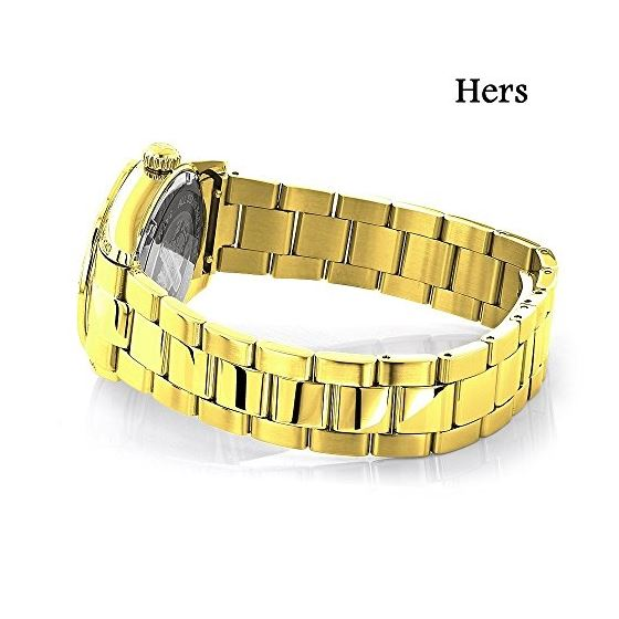 His And Hers Watches: Yellow Gold Plated Diamond-3