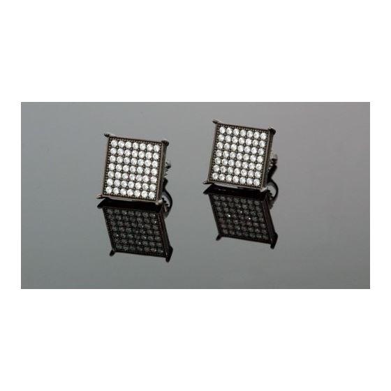 .925 Silver Black Square Black Onyx Crystal Micro Pave Unisex Mens Stud Earrings 12mm 1