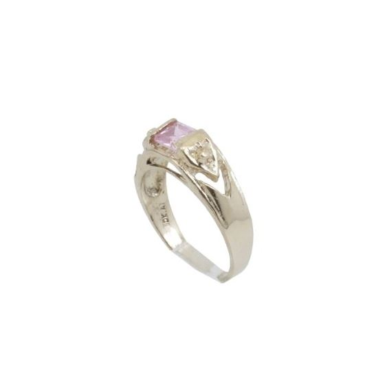10k Yellow Gold Syntetic pink gemstone ring ajr23 Size: 3.25 1