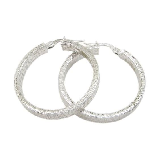 Round greek key hoop earring SB90 28mm tall and 28mm wide 1
