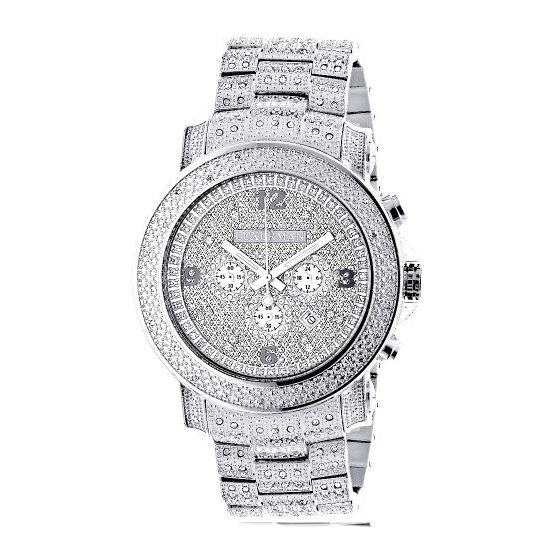 Oversized Escalade Iced Out Mens Diamond Watch by Luxurman White Gold Plated 2ct 1