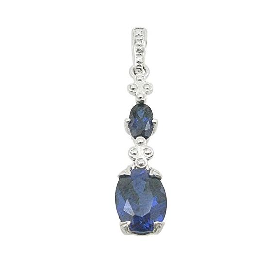 Ladies 10K Solid White Gold tear drop blue stone pendant Length - 1.10 inches Width - 6mm 1