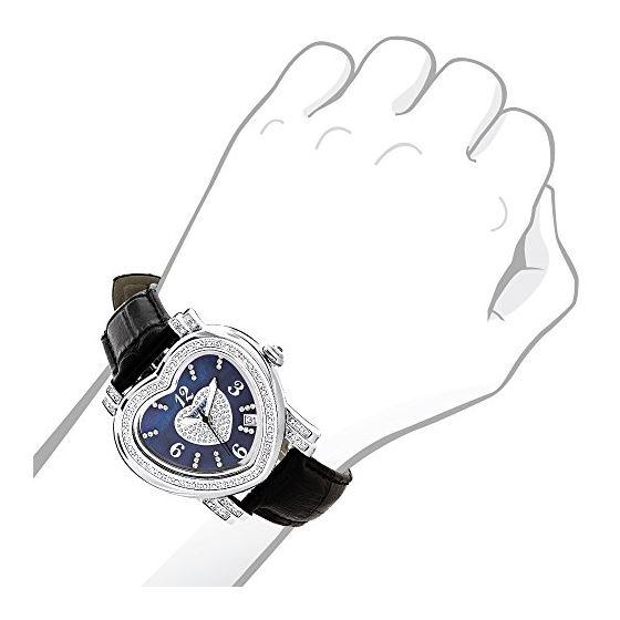 Ladies Floating Diamond Watch Blue Heart-3