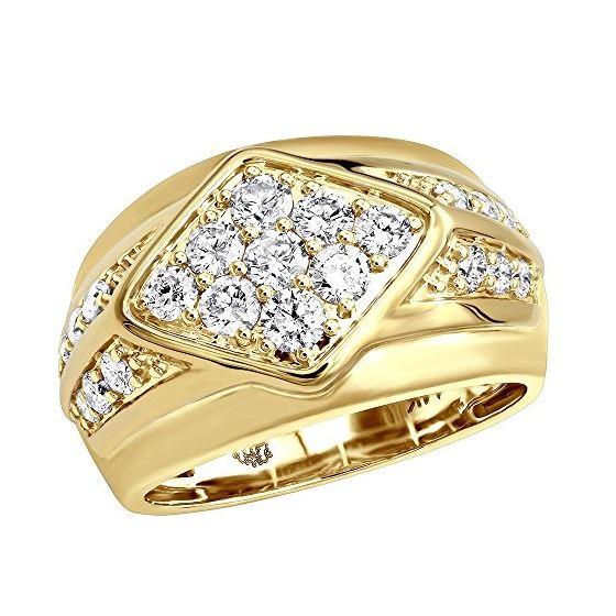 14k Gold Unique Mens Diamond Ring Wedding Band 1 6ctw Yellow