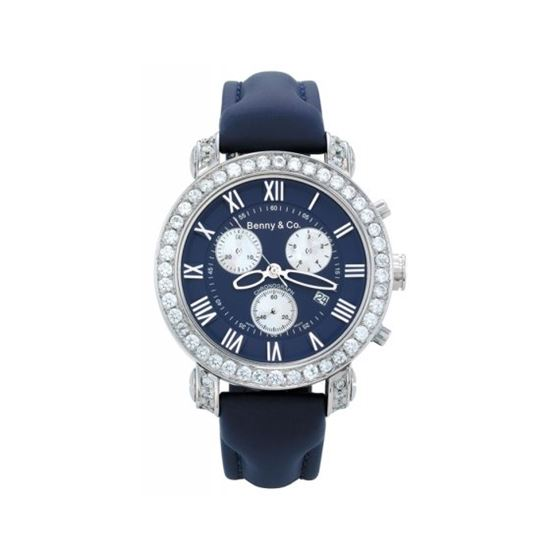Benny Mens 3ctw Diamond Watch Navy