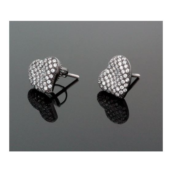 Sterling Silver Heart Shape Fashion Hand Set Stud Earrings ME0211b 1