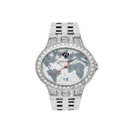 NEW! Men's Oval World Map Diamond Watch, 12.00