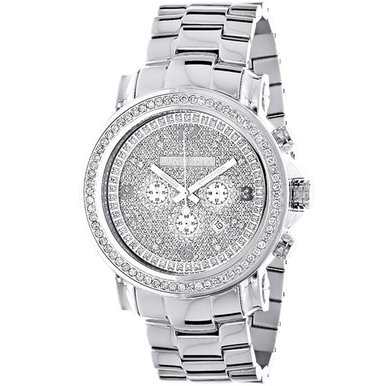 LARGE ICED OUT MENS CHRONOGRAPH DIAMOND  39 1