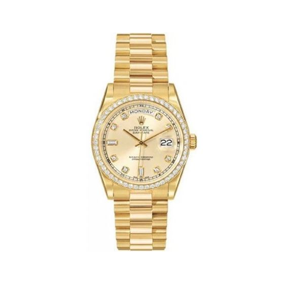Rolex Oyster Perpetual Day-Date 18kt Yellow Gold Diamond Mens Watch 118348