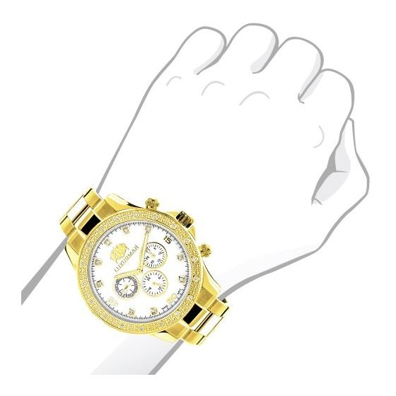 LUXURMAN Diamond Watches For Men 0.2Ct Yellow Go-3