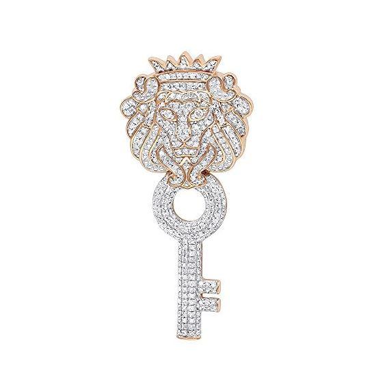 173038453818d Mens Unique 10K Gold Diamond King Lion Head Pendant With Key 1Ctw (Rose  Gold)