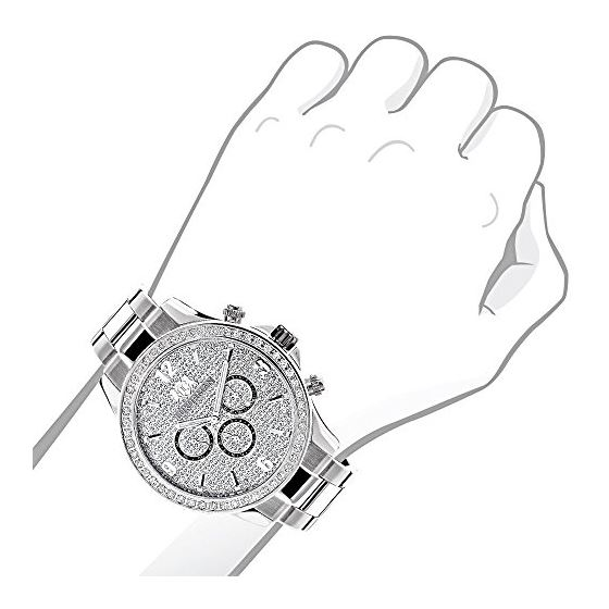 Liberty Mens Real Diamond Watch 2ct by Luxurman White Gold Plated Steel Band 3