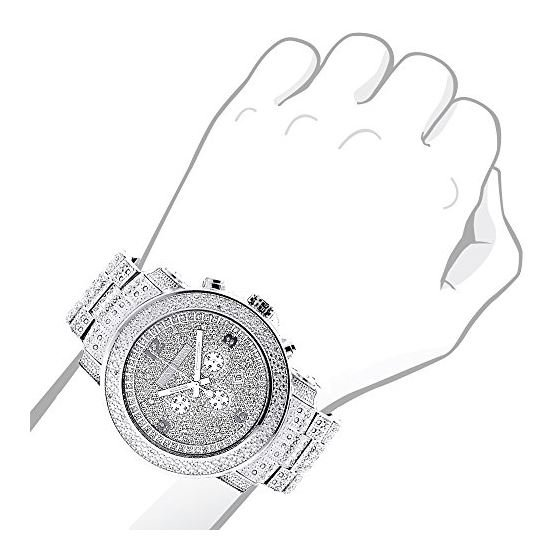 Oversized Escalade Iced Out Mens Diamond Watch by Luxurman White Gold Plated 2ct 3