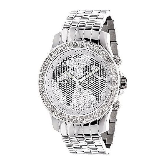 Mens Diamond Watch Worldmap 0.20 Ct Black White