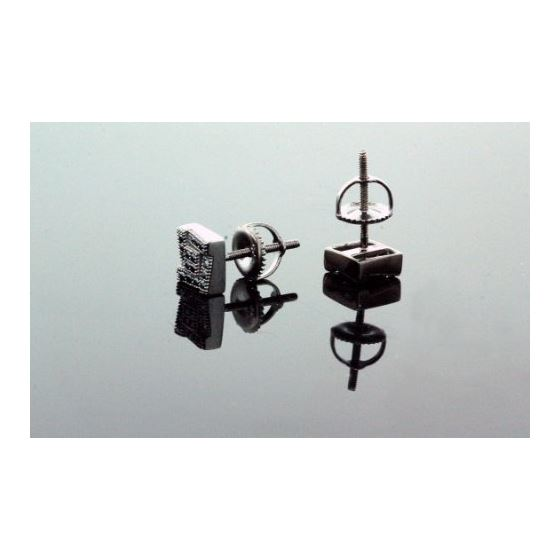 .925 Sterling Silver Black Square Black Onyx Crystal Micro Pave Unisex Mens Stud Earrings 8mm 3