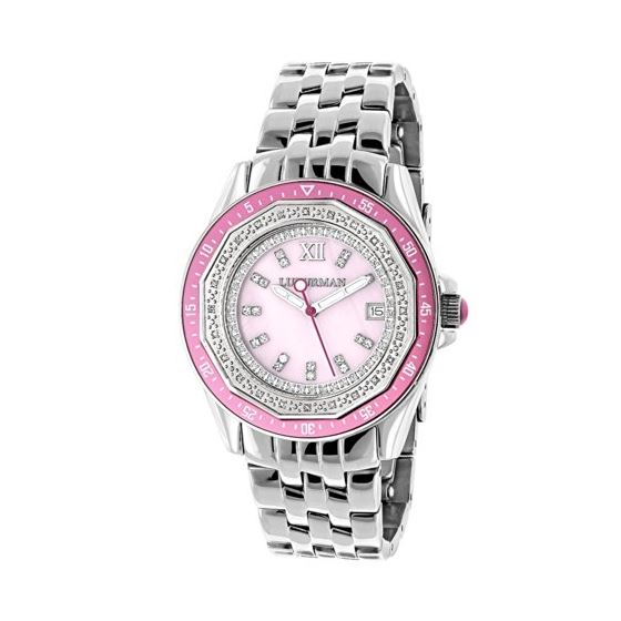 Ladies Real Diamond Watch 0.25ct Pink MOP Bezel Luxurman Interchangable Straps 1