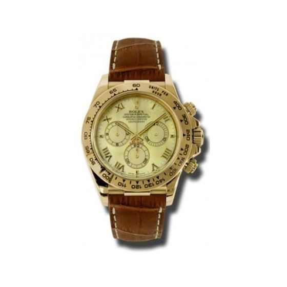 Rolex Watches  Daytona Yellow Gold  Leather Strap 116518 ym