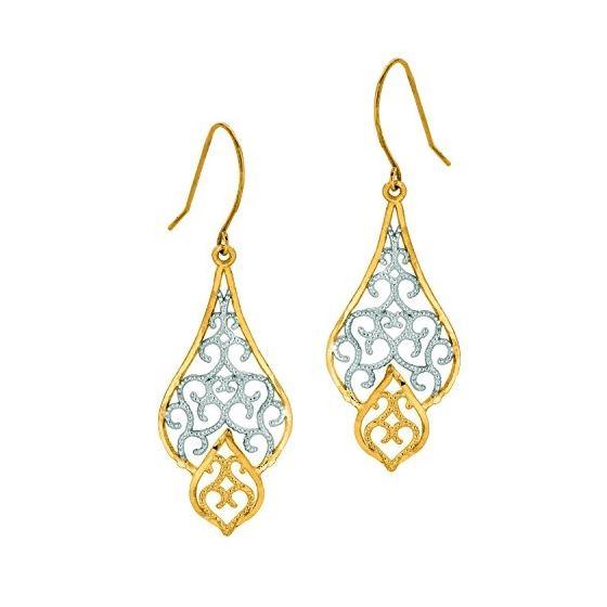 10K Tri-Color Gold Ladies Drop Earrings 505ER