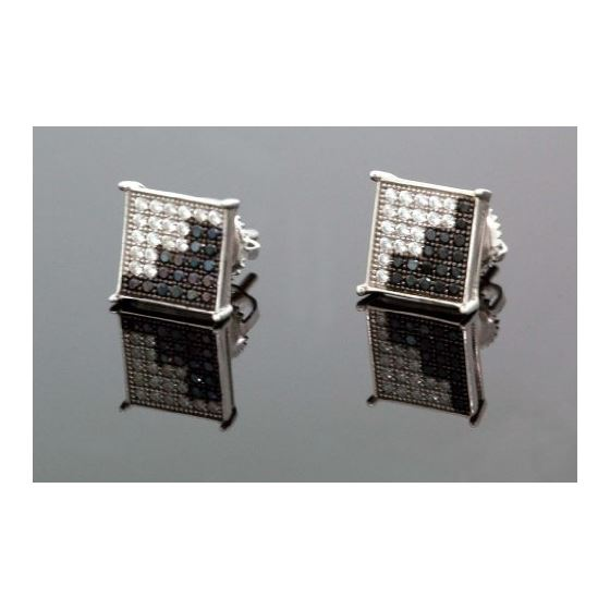 .925 Sterling Silver White Square Black Onyx and White Crystal Micro Pave Unisex Mens Stud Earrings