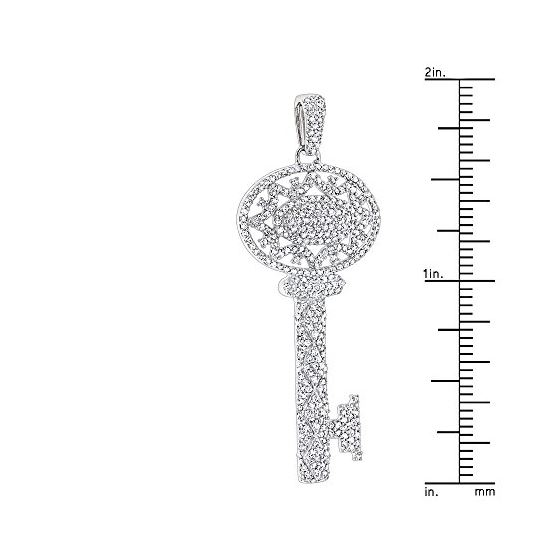 Ladies 14K Natural 1 Ctw Diamond Key Necklace (W-3