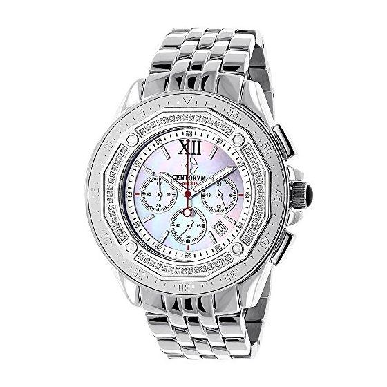 Centorum Real Diamond Watches: Mens Midsize Falcon 0.55ct Chronograph White MOP 1