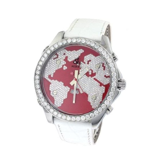 Jacob Co. White Band 5 Time Zone Red World Map 5.7