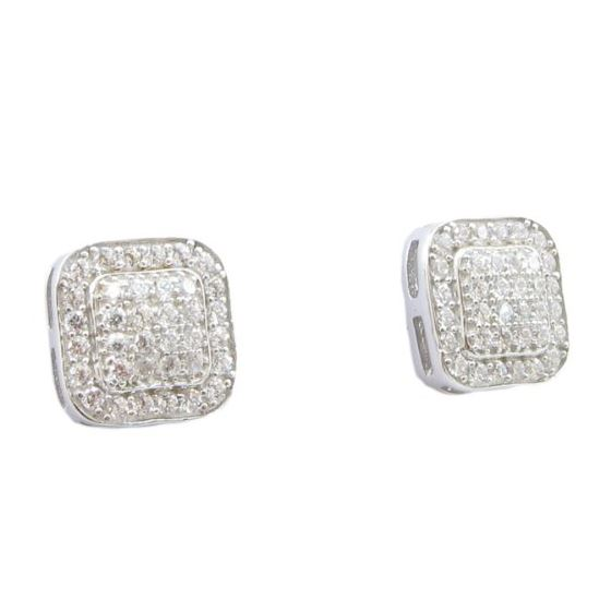 Mens .925 sterling silver White 6 row rounded square earring MLCZ160 3mm thick and 8mm wide Size 1
