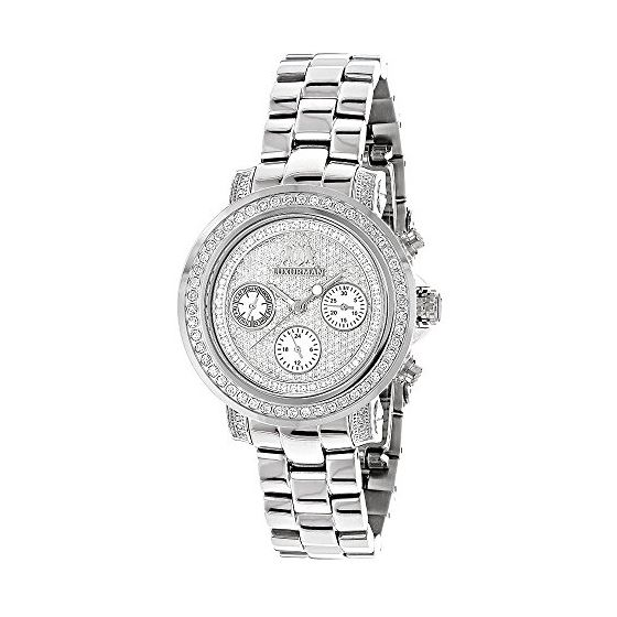 Iced Out Genuine Diamond Watch For Women 2ct Luxurman Montana Chronograph 1