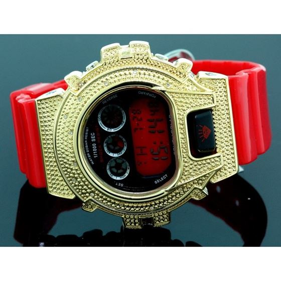 Ice Plus Mens Diamond Shock Style Watch Yellow Case Red Band 1