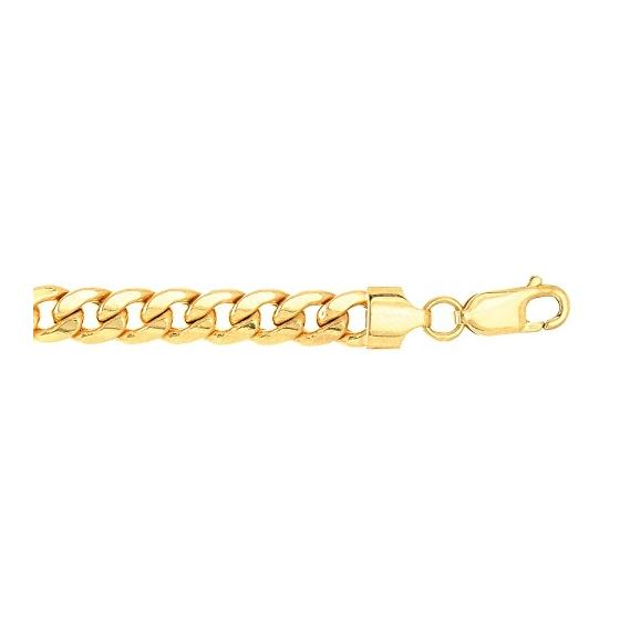 Real 10K Yellow Gold 6.5 mm Wide Hollow Miami Cuban Link Chain 8 1/2 Inch Long 1