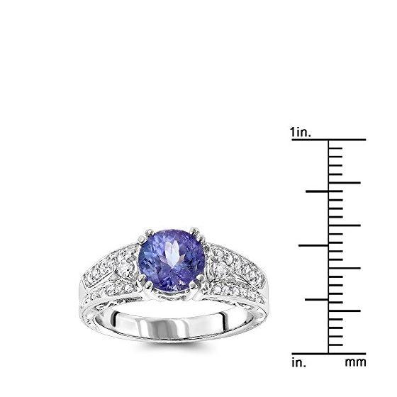 14K Natural Diamond Tanzanite Engagement Ring Fo-3
