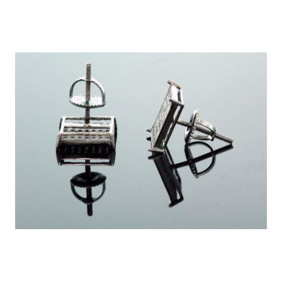 .925 Silver Black Square Black Onyx Crystal Micro Pave Unisex Mens Stud Earrings 12mm 3
